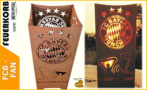 Metallmichl Edelrost Fussball FC Bayern Feuerkorb Fan-Artikel Eckig Rekordmeister, FCB Feuerschale aus Rost Metall für Garten und Terasse