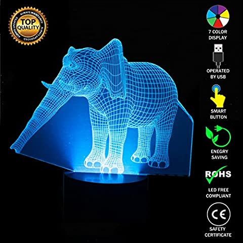 Animals Elephant 3D Optical Illusion Lamp, FZAI 7 Colors Changing Led Night Light with Touch Button & 150cm USB Cable for Kids Sleeping / Mother's Feeding / Home Decoration / Christmas