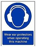 vsafety 41019an-s Gehörschutz tragen, wenn diese Maschine Pflicht Schutzbekleidung Schild, selbstklebend, Hochformat, 150mm x 200mm, blau