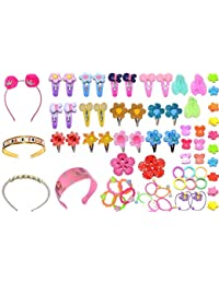 RosePetals Baby Hair Band; Mix Style Tic Tac; Hair Clips; Pin; Elastics Ponytail Holder Hair Accessories for Girls with Gift Box; 67 Pieces/Set (Multicolour)