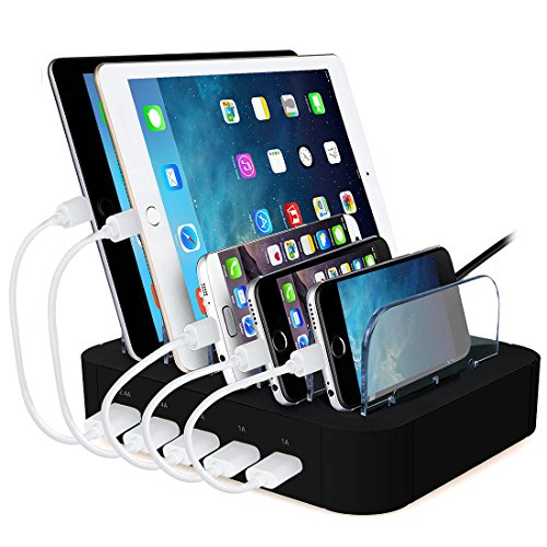 ACTOPP USB Ladestation Multiport USB Universal Dockingstation Ladegerät Ladedock 5 Ports USB Ladestation gehostete Desktop Ladestation Ladeeinrichtung für Handys Tablets