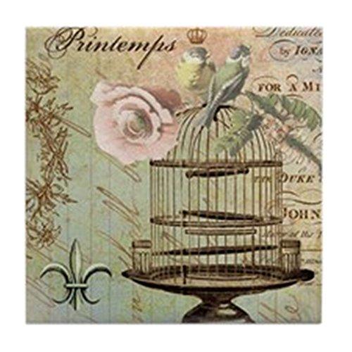 CafePress–Französischer Vintage Shabby Chic Vogelkäfig–Tile Untersetzer, Drink Untersetzer, Untersetzer, Klein (Krone Vogelkäfig)