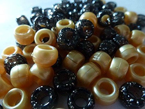 100x Schwarz Glitter & Gold Pearl Mix Pony Perlen 9mm x 6mm 3Kaufen 1Gratis.-3Kaufen, 1gratis. Armband Geflecht Loom Bands Schnuller Clips Haar Farbe Acryl Kunststoff, fassförmig, rund