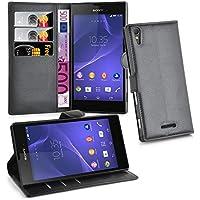 Cadorabo - Funda Sony Xperia T3 Book Style de Cuero Sintético en Diseño Libro - Etui Case Cover Carcasa Caja Protección (con función de suporte y tarjetero) en NEGRO-FANTASMA