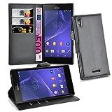 Cadorabo Hülle für Sony Xperia T3 Hülle in Phantom schwarz Handyhülle mit 3 Kartenfächern Case Cover Schutzhülle Etui Tasche Book Klapp Style Phantom-Schwarz
