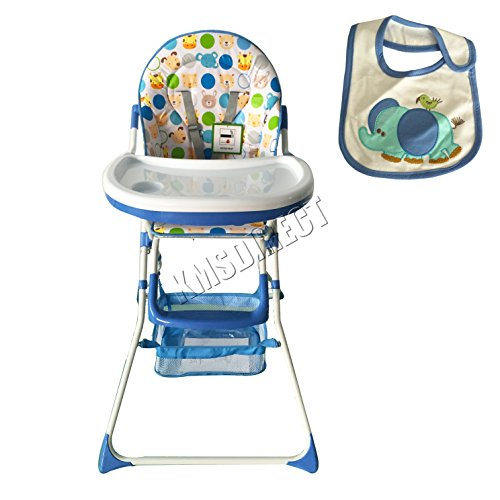 FoxHunter Portable Baby High Chair Infant Child Toddler Booster Nursery Furniture Folding Feeding Seat With Tray Storage Basket Bib Blue 51Q8CdDz 2BPL