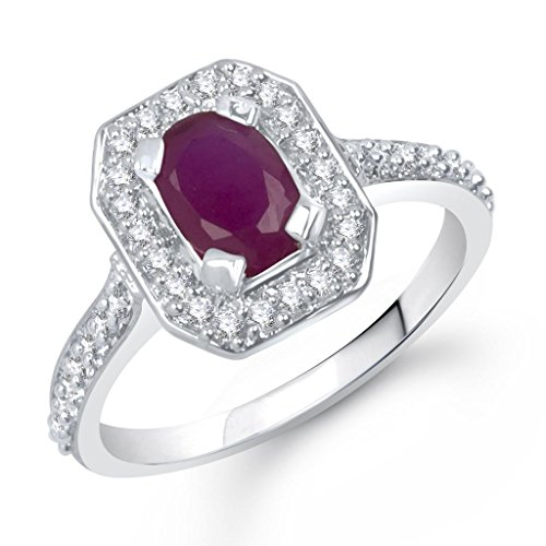 VK Jewels Ruby Beaded Silver Brass Alloy CZ American Diamond Ring for Women VKFR1273R14  available at amazon for Rs.174