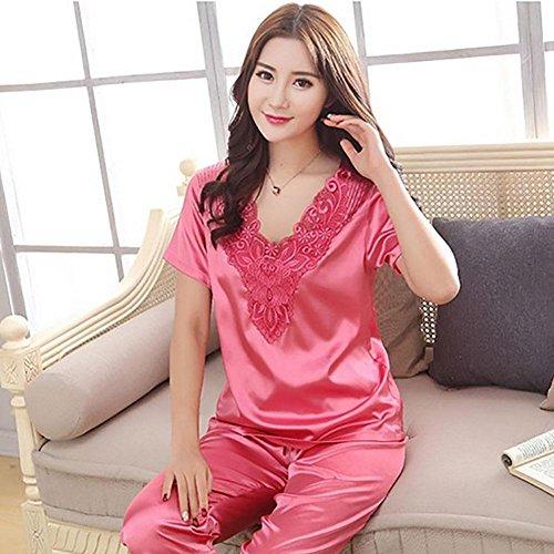 CHUNHUA Mme pyjama de soie mince section imitation manches courtes costume survêtement , champagne , xxxl roland red