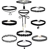 floweralight 10pezzi Set collana girocollo elasticizzato velluto girocollo classica per ragazze