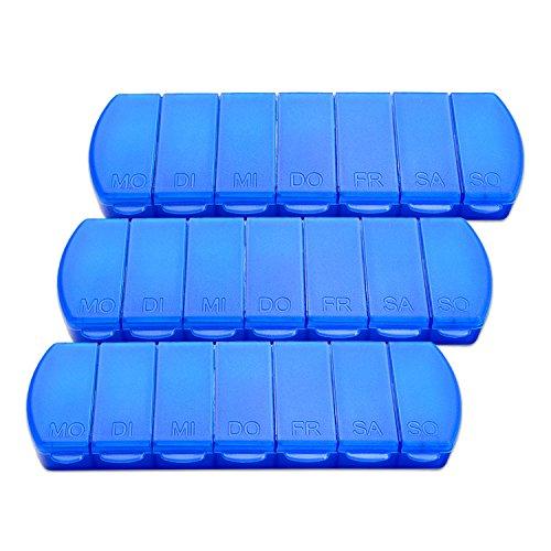Schramm® 3 Stück Tablettenbox blau 11x4x1,5cm Pillen Tabletten Box 7 Tage Schachtel 3er Pack Tablettendose Pillendose Pillenbox Tablettenboxen Pillendosen Pillen Dose