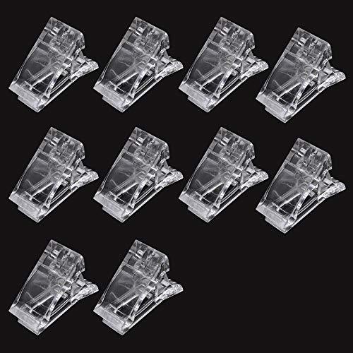 10 pinzas de uñas de polígel transparente para la construcción rápida de uñas, extensión de uñas...