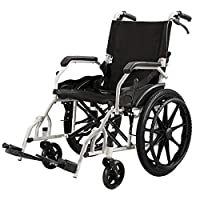 ACEDA Lightweight Expedition Folding Transport Wheelchair Portable With Front And Rear Brakes,49Cm Seat,13.4KG,Foot Pedal Adjustable,Black