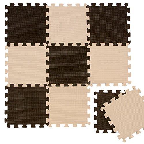 LittleTom Puzzlematte Spielmatte Braun-Beige 10-tlg. Spielteppich Schaumstoff Puzzle Kinderteppich