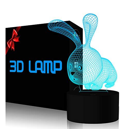Kaninchen Illusion Lampe, FZAI 7 Farben ändern LED Nachtlicht mit Touch-Taste & 150cm USB Kabel für Kinder Schlafzimmer