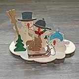 Bastelset Holz Kinder Weihnachten/Ostern - Original Erzgebirge * viele verschiedene Motive wählbar * (Bastelset Teelichthalter Schneemann)