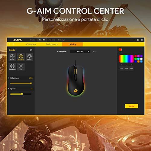 AUKEY Mouse Gaming per FPS con 5000 DPI Reali, 6 Pulsanti Programmabili, RGB Multicolore Retroilluminato, e Design Ergonomico, Mouse da Gioco Ottico ad Alta precisione per Gamer Professionista, Nero