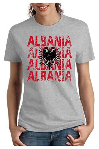 OM3 - ALBANIA - Damen T-Shirt tailliert - ALBANIEN EM 2016 FRANKREICH FRANCE FUSSBALL FANSHIRT SOCCER SPORT TRIKOT EUROPAMEISTER, S - XXL Grau Meliert