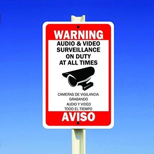 Monsety Deko Schild Warnung Sicherheit Audio Video Surveillance Kamera Schild englisch Spanisch Yard Zaun Auffahrt Garage Straßenschild -