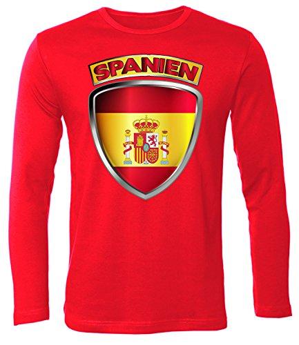 Spanien Espania Spain Fan t Shirt Artikel 5018 Fuss Ball Langarm Longsleeve EM 2020 WM 2022 Trikot Look Flagge World Cup Jersey Männer Herren S -