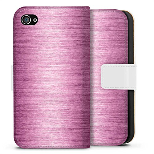Apple iPhone X Silikon Hülle Case Schutzhülle Metal Look - Pink Metall Rosa Pink Sideflip Tasche weiß
