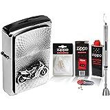 Zippo Briquet Motorbike Emblem & Zippo Accessoires au choix + R S Tige Briquet Chrome, mit Zubehör XL