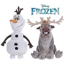 Oficial Disney Frozen 20cm Olaf El muñeco de nieve y 19cm Sven The Reindeer Soft Peluches