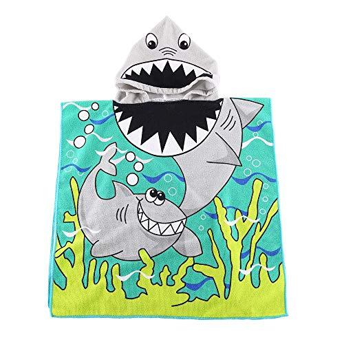 """Orsit Serviette de Bain avec Capuchon de Plage pour Enfants de 2 à 8 Ans - Cape de Poncho avec recouvrement de Piscine - Usage Multiple pour Le Bain/la Douche/la Piscine 24""""x 48""""(Requin)"""
