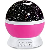 Baby Night Lights Projector for Children Kids Romantic Star Night Light Projection Lamp Rotating 3 Modes Pink