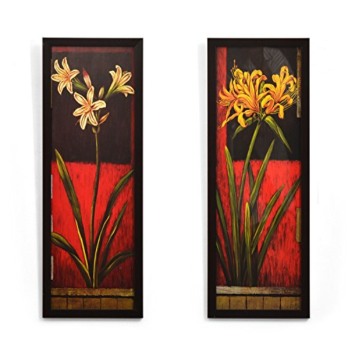 @Home 'Floral' Painting (Fabric, 17 cm x 3 cm x 46.99 cm, Maroon, Set of 2) @Home 'Floral' Painting (Fabric, 17 cm x 3 cm x 46.99 cm, Maroon, Set of 2) 51Q8JwlSciL