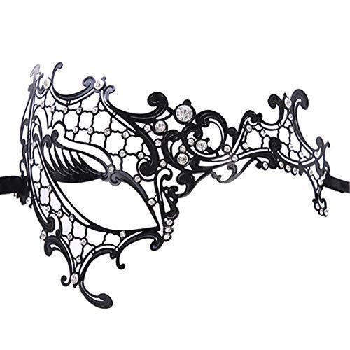 Lady of Luck Maske Metall Schwarz venezianischen Maskerade Maske Kristallen für Frauen