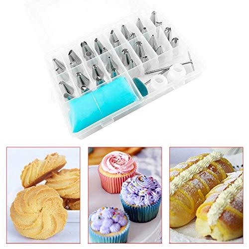 Sue-Supply Spritztüllen-Set aus Edelstahl, für Nagelcreme, Tüten und Kuchen, 38 Stück