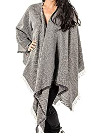 Black Grey and Ivory Antique Loom Cashmere Cape
