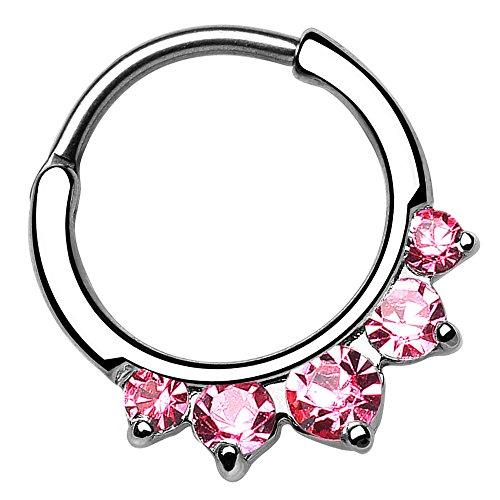 Piersando Universal Piercing Ring Clicker für Septum Tragus Helix Ohr Nase Lippe Brust Intim Vintage Tribal mit Strass Kristall Spitzen Silber Silber Pink