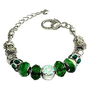 Bracelet en alliage couleur multiple Emeraude et Gems Monnaie perles Charms métal
