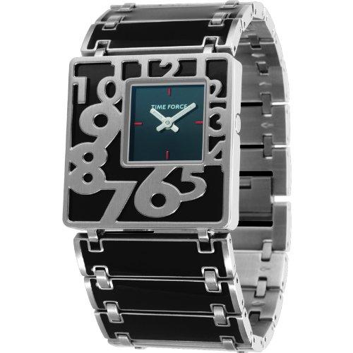 Montre Time Force de Mrs. Acier laqué chaîne. Sphère Noire. tf-2960l01m