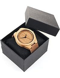 Natural de madera reloj analógico cuarzo piel banda reloj de pulsera movimiento de Japón Miyota madera de bambú color marrón Relojes para hombres mujeres y caja de regalo JLySHOP