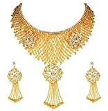 ESHOPITUDE DESIGNER CZ AMERICAN DIAMOND QUEEN FULL NECK GOLD PLATED NECKLACE SET &EARRINGS SET FOR WOMEN
