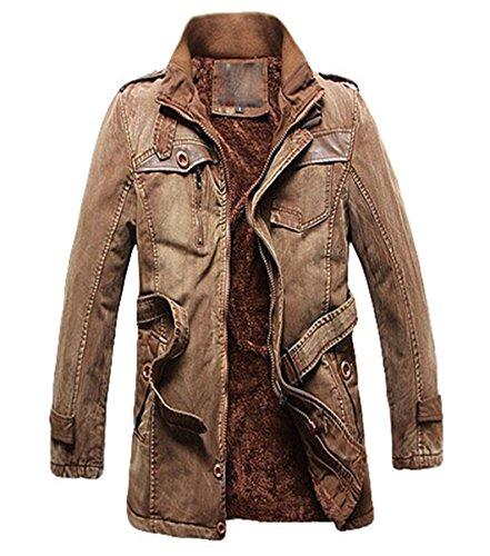 PLAER La mode denim casual Veste automne et en hiver, plus épais velours hommes Pour des hommes la mode denim Manteau Kaki