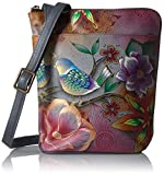 Anuschka Hand Painted Two Sided Zip Travel Organizer Cross Body