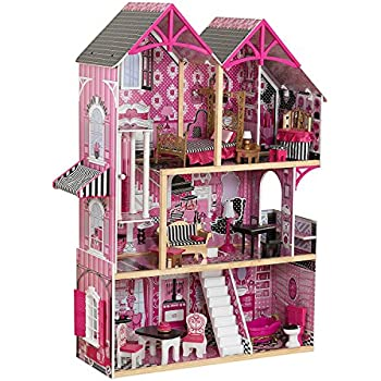 Kidkraft 3 Level 5 Room Pink Wooden Bella Dollhouse With 16 Pieces Of Furniture 3 Years