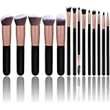 Premium 14 Pcs Synthetic Foundation Powder Concealers Eye Shadows Silver Black Makeup Brush Sets(Rose Golden)