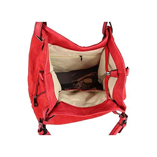 design italiano Donna XXL Borsa Stella Shopper Borsa Con Maniglie Borsetta Borsa A Tracolla - rosso, ca 46x35x13 cm ( BxHxT ) rosso