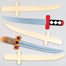 Espadas ninja de madera que los niños pueden diseñar, pintar y decorar - Kit de manualidades creativas para niños (pack de 4).
