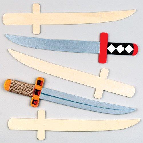 Holzschwerter für Kleine Ninjas und Piraten Zum Bemalen und Verzieren – Kreatives Bastelset für Kinder (4 Stück)