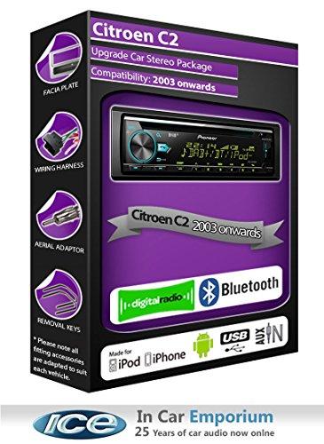 Citroen C2DAB Radio, Pioneer estéreo reproductor de CD USB AUX, Bluetooth Manos...