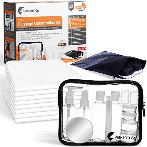 Kit de viaje para equipaje de mano | bolsa al vacío de viaje 60 x 40 cm | bolsa de aseo/Contractors...