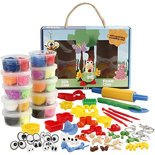 Modellier-Set mit Foam Clay und Silk Clay, 1Set