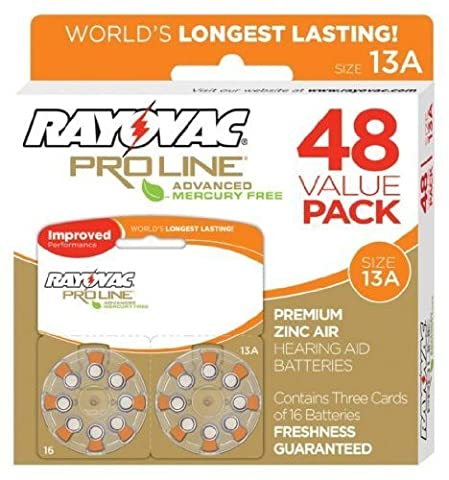 Rayovac Mercury Free Proline Advanced Size 13 Hearing Aid Batteries, Total of 48 Batteries by