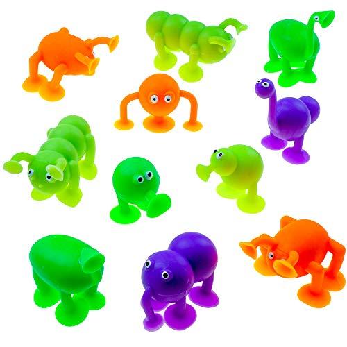 12xPlopper - Tiere -zum Poppen ┃ Stikiess ┃ Gummi - Strolche ┃ Kindergeburtstag ┃ Mitgebsel ┃12x Süße Saugnapf Tiere ()