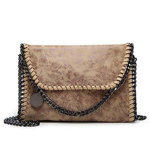 Valleycomfy Frauen Handtaschen Elegante Schultertasche Metallic Kette Riemen PU Leder Cross Body Taschen Handtasche Khaki